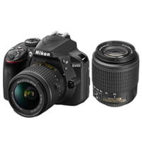 New Nikon D3400 Kit AFP (18-55) (55-200) Digital Camera Black (FREE DELIVERY + 1 YEAR WARRANTY)