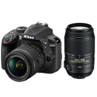 New Nikon D3400 Kit AFP (18-55) (55-300) Digital Camera Black (FREE DELIVERY + 1 YEAR WARRANTY)