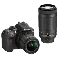 New Nikon D3400 Kit AF-P (18-55 VR) (70-300) Digital Camera Black (FREE DELIVERY + 1 YEAR WARRANTY)