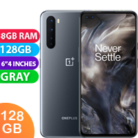 UNLOCKED New Oneplus Nord 128GB 8GB RAM 5G LTE Dual SIM Smartphone Gray (FREE DELIVERY + 1 YEAR WARRANTY)