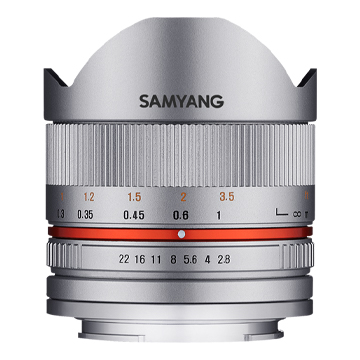 New Samyang 8mm f/2.8 Fish Eye CS Silver Lens for Fujifilm X (FREE DELIVERY + 1 YEAR WARRANTY)