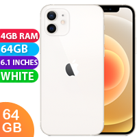 UNLOCKED New Apple iPhone 12 64GB 4GB RAM 5G LTE Dual SIM Smartphone White (FREE DELIVERY + 1 YEAR WARRANTY)