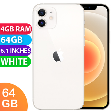 UNLOCKED New Apple iPhone 12 64GB 4GB RAM 5G LTE Smartphone White (FREE DELIVERY + 1 YEAR WARRANTY)