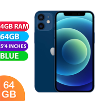 UNLOCKED New Apple iPhone 12 Mini 64GB 4GB RAM 5G LTE Dual SIM Smartphone Blue (FREE DELIVERY + 1 YEAR WARRANTY)